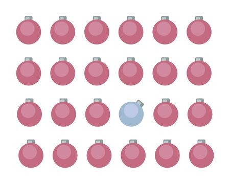 Vector set of four rows of red christmas balls with one blue ball isolated on a white background. Imagens - 137236439