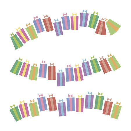 Lines of multicolored vector christmas gifts with ribbon and bow isolated on white background.