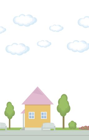 Pink house in the park with trees and clouds in the sky on a white background vector illustration.