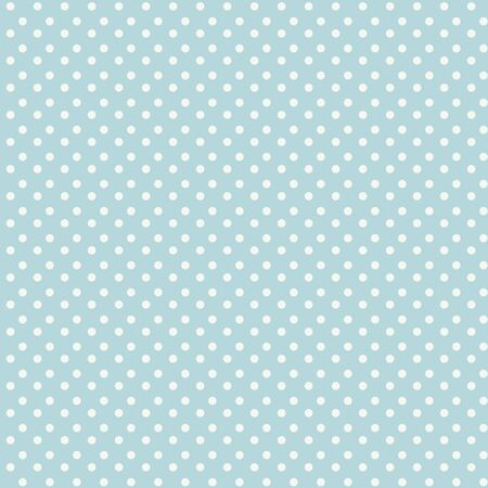 Seamless light gentle blue vector retro pattern with small white circles.