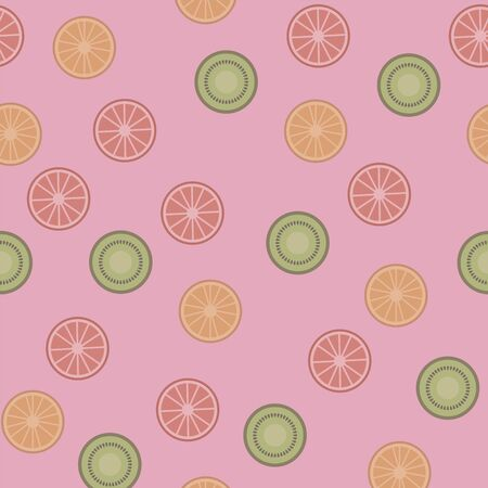 Seamless vector pattern with simple round slices of tropical fruits orange and kiwi on a pink background.