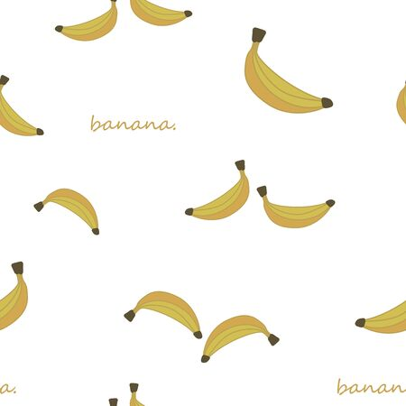 Seamless vector pattern of yellow banana fruits and inscriptions isolated on white background.