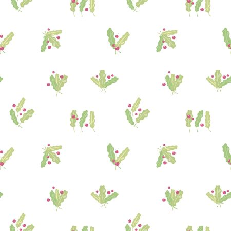Seamless vector christmas pattern with green leaves with bright red berries isolated on white background.