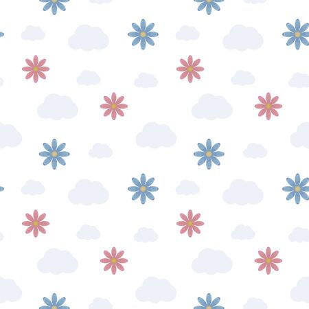 Seamless vector pattern with cloud count and red and blue flowers on a white background. Imagens - 137236447