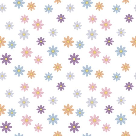 Seamless vector light pattern with red, violet and blue flowers isolated on white background.