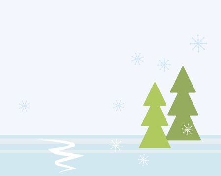 Blue vector illustration of a winter white forest with snow and green Christmas trees, snowflakes and snowdrifts. Imagens - 137236465