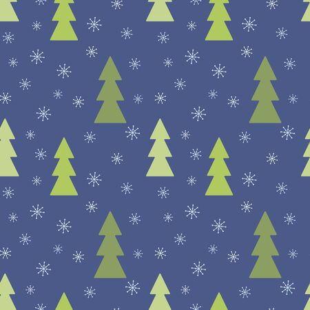 Vector snow background with green Christmas trees with light snowflakes on a dark blue background.