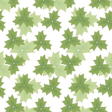 Seamless vector fresh abstract pattern with forest elements with leaves of two colors on a white background.