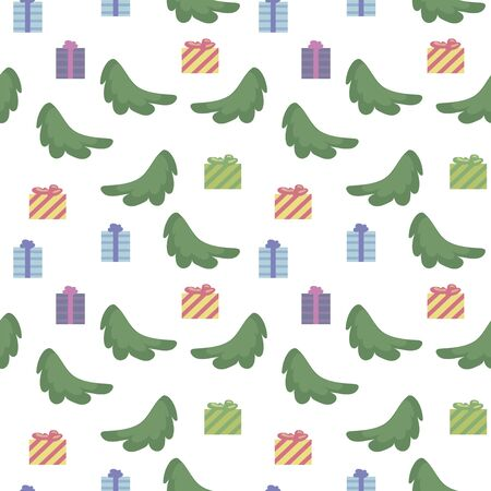 Vector seamless pattern with spruce branches, square multi-colored gifts isolated on a white background. Illusztráció