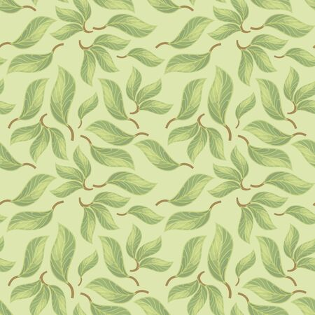 Seamless vector pattern with forest leaves with veins on a light green shade background.