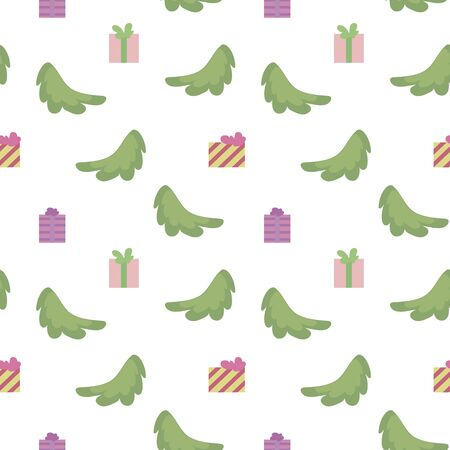 Vector seamless pattern with spruce branches, square multi-colored gifts isolated on a white background. Imagens - 137236454