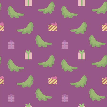 Vector seamless pattern with spruce branches, square multi-colored gifts isolated on a purple background.