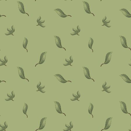 Seamless vector pattern with forest leaves with veins on a green khaki background. Imagens - 137236466