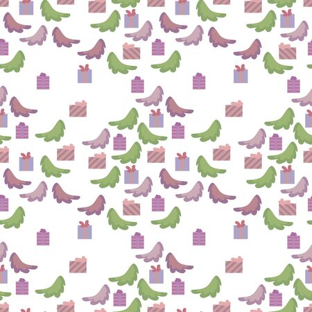 Vector seamless pattern with green and lilac cartoon cute spruce branches and gifts on a white background. Illusztráció