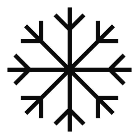 Black vector outline snowflake object isolated on white background.