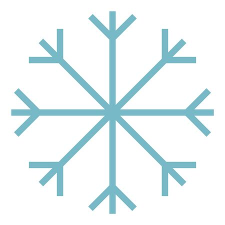 Blue vector outline snowflake object isolated on a white background.