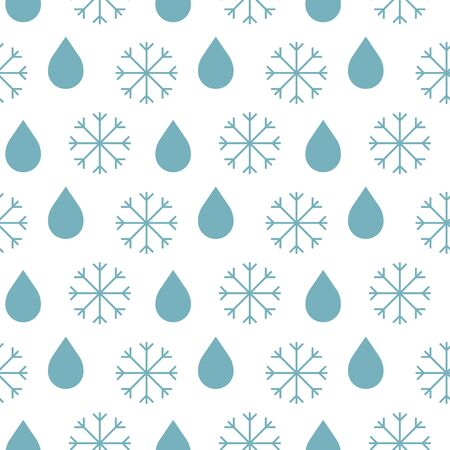Seamless weather pattern with blue vector outline snowflakes and rounded blue raindrops on a white background. Illusztráció