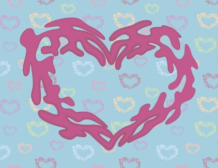 Pink heart on a blue cute background with multicolored hearts. Illusztráció