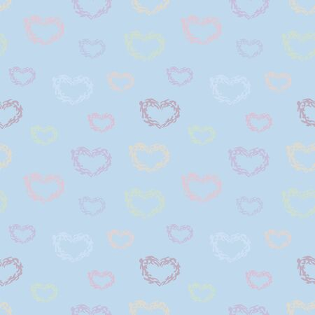 Seamless vector pattern with multi-colored cute hearts of different sizes on a light neutral blue background. Imagens - 137236479