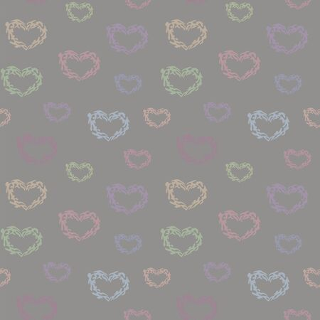 Seamless vector pattern with multi-colored cute hearts of different sizes on a light gray background.