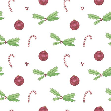 Seamless vector pattern with christmas holly, candies and red balls decoration on a white background. Imagens - 137236482