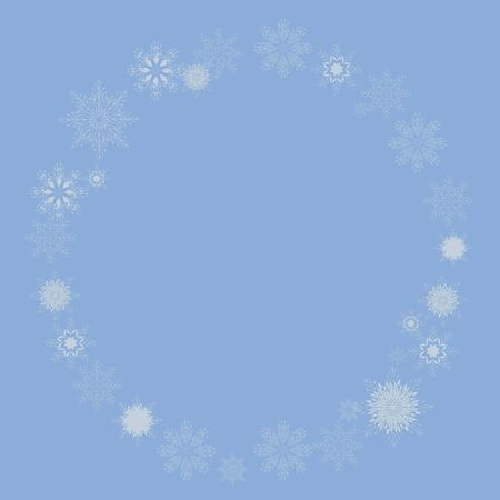 Wreath of thin vector snowflakes round on a blue background postcard.