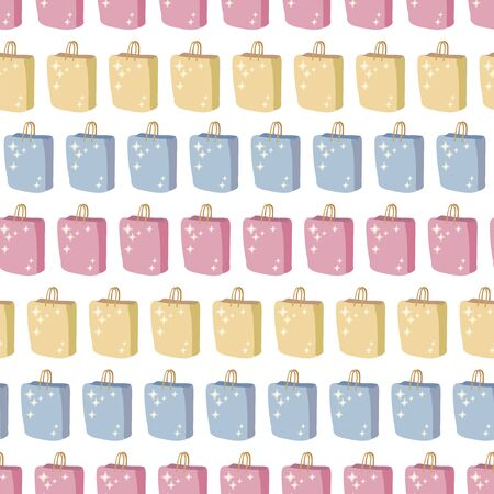 Seamless vector pattern with gift multicolored colorful paper shopping bags with highlights on a white background. Illusztráció