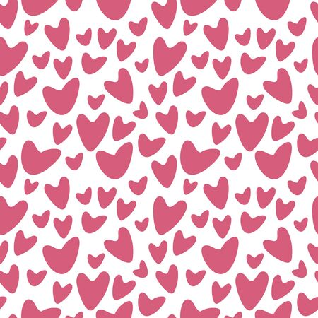 Red hot love romantic hearts symbol on the white background vetor seamless pattern.