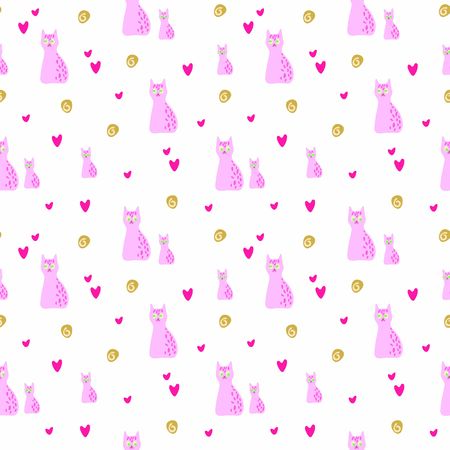 Sweet pink cats and kittens with hearts seamless vector pattern on the white background. Imagens - 140500566