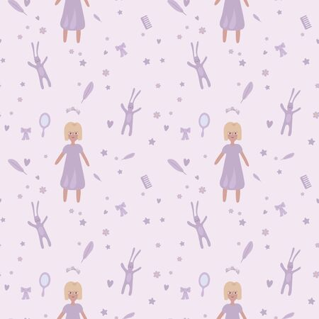 Sweet liliac girlish cute doodle seamless vector pattern with girl, rabbit and things. Illustration