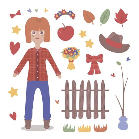 Autumn vector girl with red hair in jeans with fruits and a hat objects isolated on a white background. Imagens - 138859882