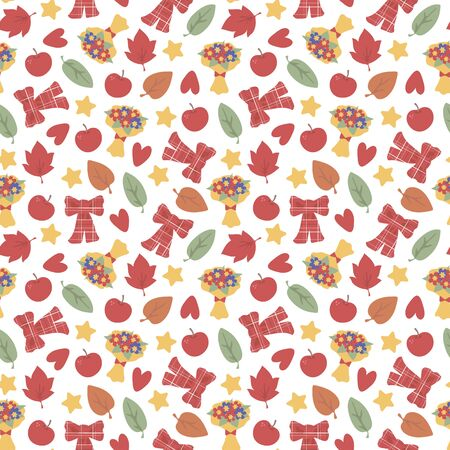 Autumn seamless vector pattern with hearts, leaves, apples, stars and a bouquet on a white background. Imagens - 140746468