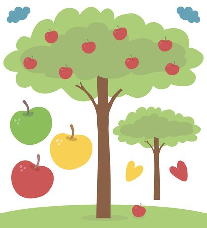 Vector drawing simple nice tree apple tree with green foliage and red apples isolated on a white background.
