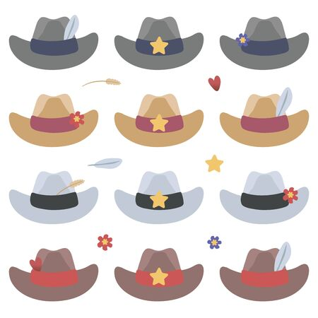 Set of multi-colored cowboy vector hats with star, flowers, feather and spikelet isolated objects on a white background.