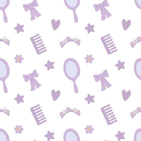 Vector seamless pattern with  purple mirror, bow, star and other objects isolated on white background. Ilustração