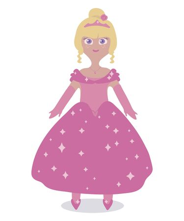 Pink vector beautiful  princess doll in a magnificent ball gown and crown illustration isolated on white background. Ilustração