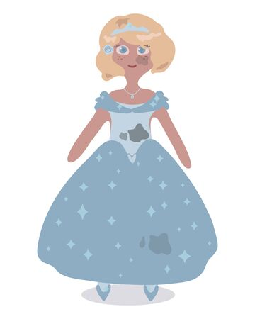 Vector beautiful cute princess doll in a bright blue dress with spots of gray ash and dirt on the skirt and on the face illustration.