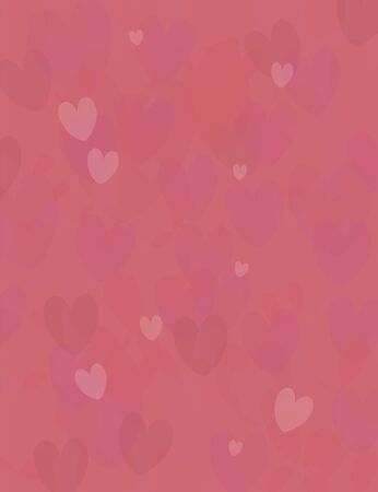 Vertical red bright nice vector background with red love hearts of different shades.