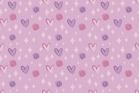 Vector simple seamless cute pink girlish festive february pattern with hearts and roses. Imagens - 140906807