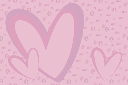 Vector simple pink tender girlish cute frame with small hearts, cameos and pink crowns.