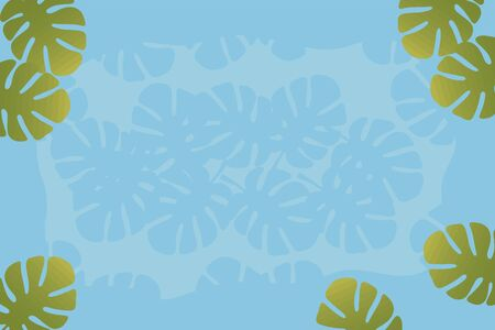 Horizontal frame postcard with green tropical leaves at the edges isolated on a bright sky blue background. Ilustração