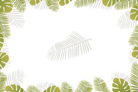 Horizontal frame postcard with tropical leaves isolated on the edges on a white background.
