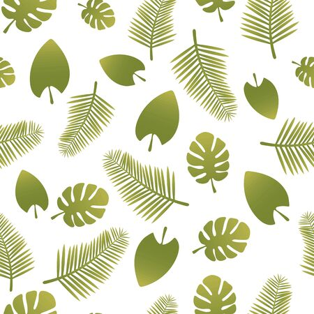 Seamless vector pattern with green gradient tropical leaves isolated on white background.