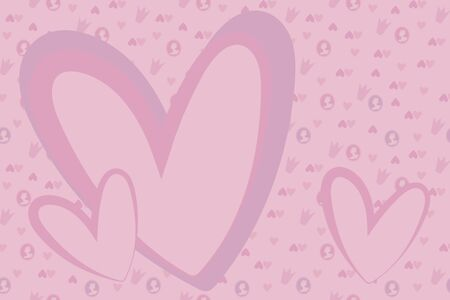Vector simple pink tender girlish frame with small hearts, cameos and crowns.