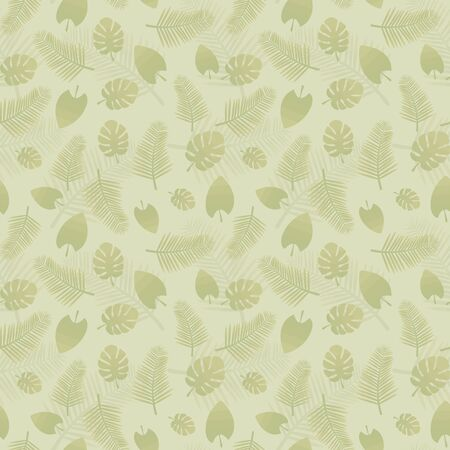 Light green seamless vector pattern with natural green tropical leaves.