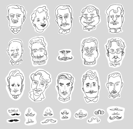 Set of linear caricature portraits of men and drawings of mustaches isolated on a white background. Banco de Imagens