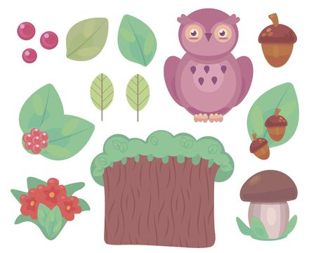 Colorful clipart set with violet owl, forest tree, green leaves, brown mushroom, acorn, red berry vector objects isolated on white background. Imagens - 143235250