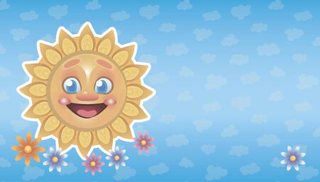 Bright yellow happy smiling sun with cute flowers on a cloudy blue sky background vector illustration background.