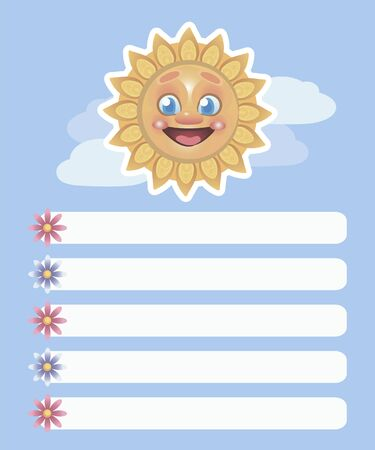 Vector light blue five-point list with white stripes with flowers and a bright yellow smiling happy sun and clouds.