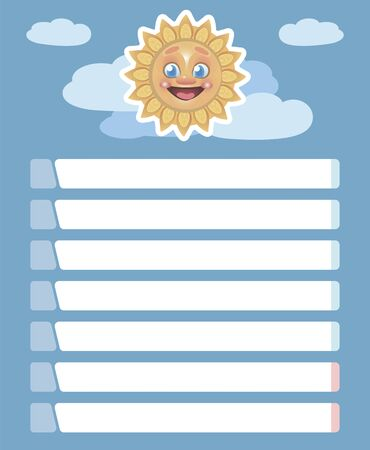 Vector blue weekly schedule with white lines and bright cheerful smiling yellow happy sun against the sky with clouds. Imagens - 143795583
